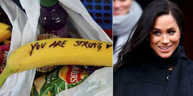 Meghan scrive messaggi sulla frutta per incoraggiare prostitute a uscire dal giro.
