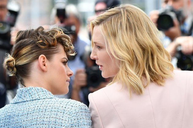 Australian actress and President of the Jury Cate Blanchett (R) talks with US actress and member of the...