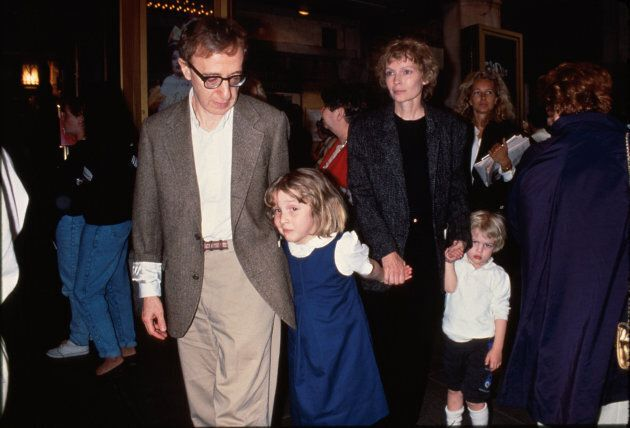 Actor/director Woody Allen (L) w. Dylan Farrow (2L) and her mother, actress Mia Farrow (2R), and Allen...
