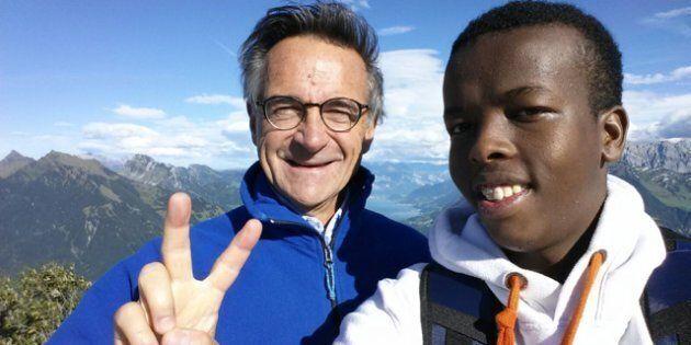 Alpi del cantone Glarus, Svizzera - Marco Morosini (a sinistra) con Shaakir Mokhtar Abokor (Somalia,