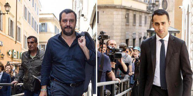 Matteo Salvini e Luigi Di Maio in una foto combo, Roma 11 maggio 2018 ANSA/ LAMI
