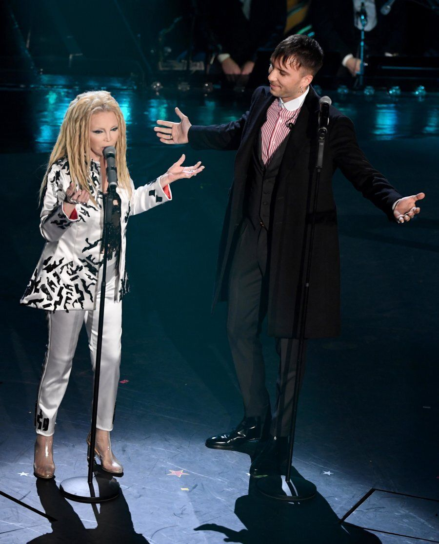 SANREMO, ITALY - FEBRUARY 07: Patty Pravo and Briga on stage during the third night of the 69th Sanremo...