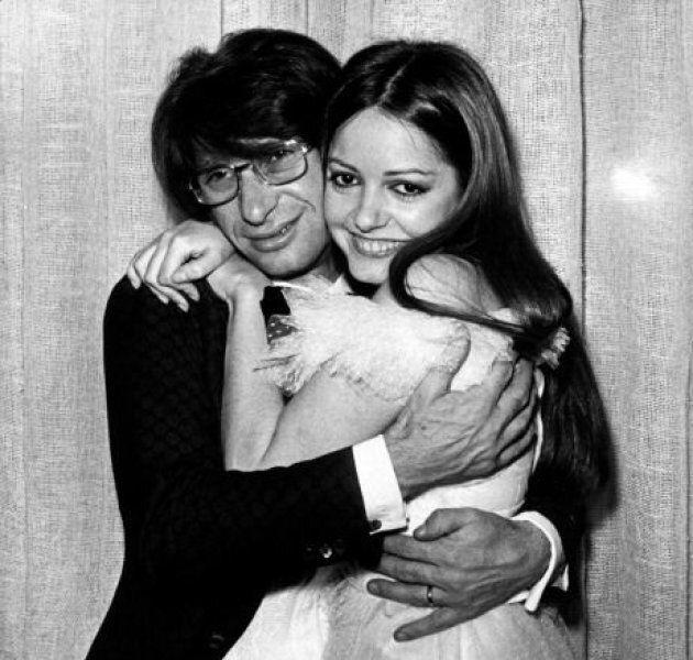 Italian singer and songwriter Nicola di Bari (Michele Scommegna) hugging Italian singer Nada (Nada Melanima)....