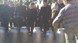 I calciatori del Cagliari dalla parte dei pastori sardi: rovesciano bidoni di latte in segno di