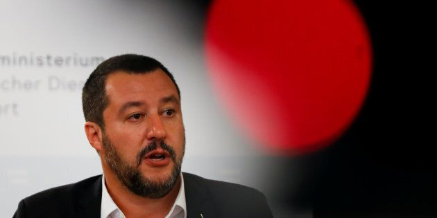 Italian Deputy Prime Minister Matteo Salvini speaks during a joint news conference with Austrian Vice...