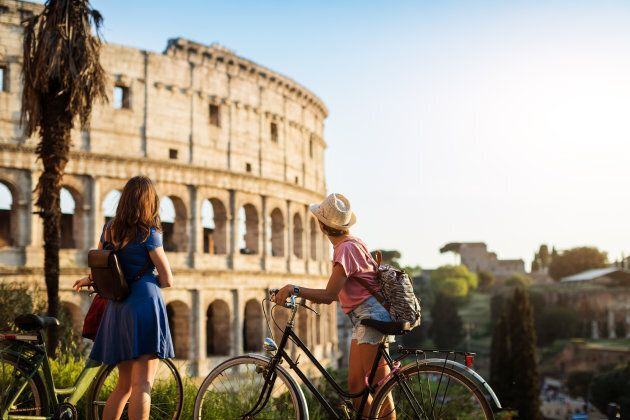 Tourist women in Rome: by the