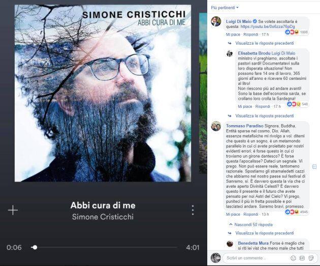 Tommaso Paradiso commenta il post di Di