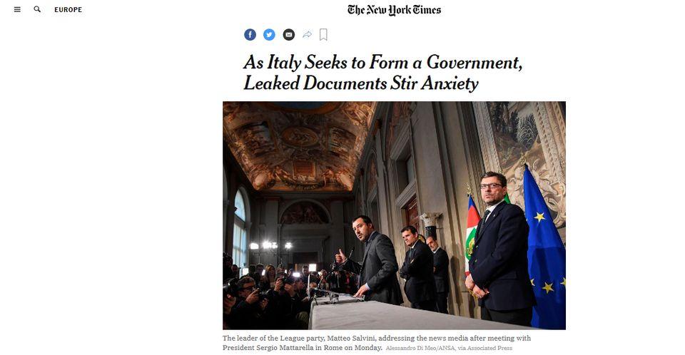 La bozza del contratto M5S-Lega pubblicata da HuffPost Italia fa il giro delle testate