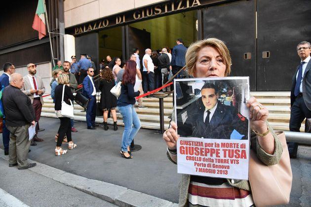 Adele Chiello, madre di Salvatore Tusa, morto nel crollo della torre dei Piloti del 2013 presente fuori...