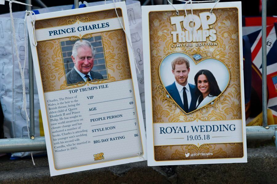 A picture shows Royal Family Top Trumps cards, a card game where you compare ratings and values to try...