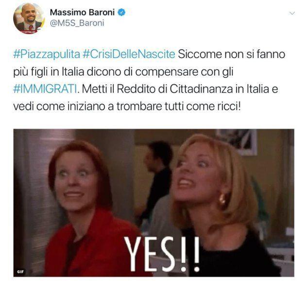 Massimo Baroni (M5s) su Twitter: