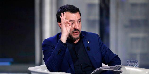 Italian Interior Minister Matteo Salvini guest the television talk show Porta a Porta. Rome (Italy),...