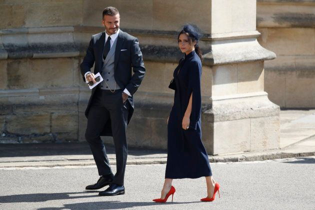 WINDSOR, UNITED KINGDOM - MAY 19: David Beckham and Victoria Beckham arrive at St George's Chapel at...