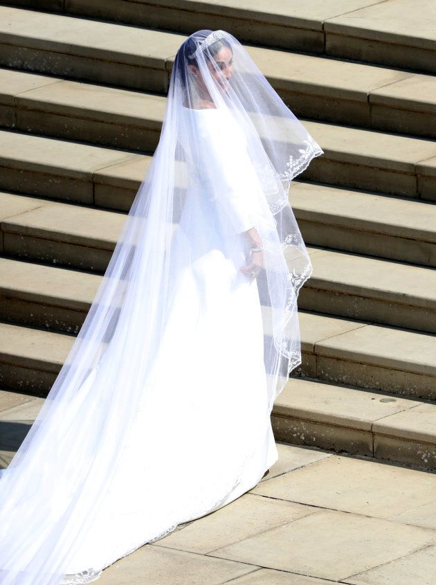 Meghan Markle arrives at St George's Chapel at Windsor Castle for her wedding to Prince Harry. Saturday...