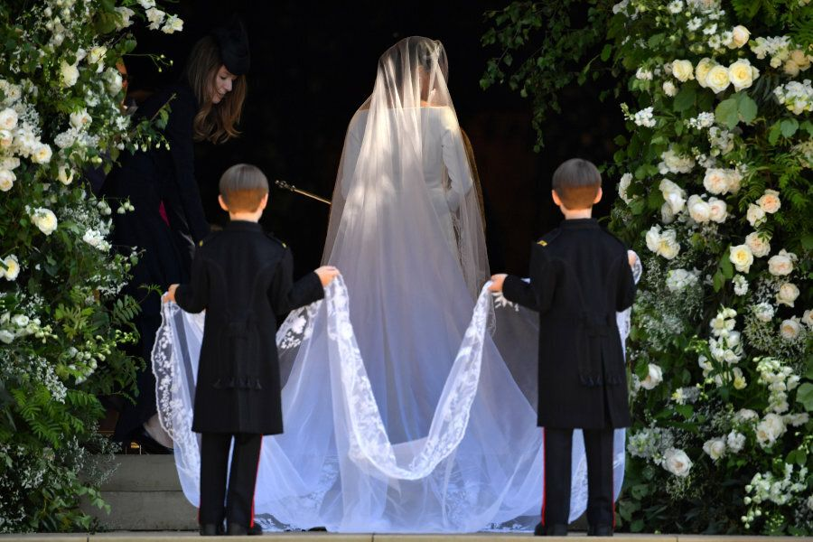 US actress Meghan Markle arrives for the wedding ceremony to marry Britain's Prince Harry, Duke of Sussex,...