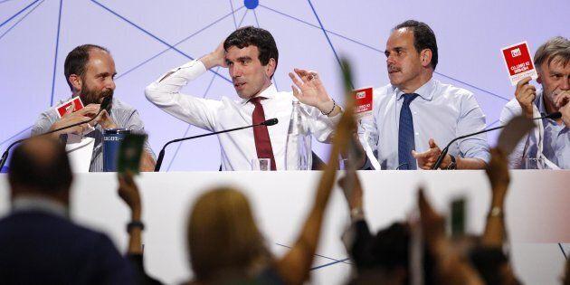 Matteo Orfini (S), Maurizio Martina e Andrea Marcucci all'hotel Ergife durante l'Assemblea Nazionale...