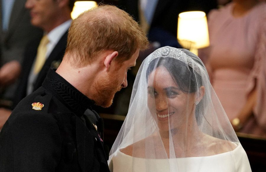 Prince Harry and Meghan Markle in St George's Chapel at Windsor Castle for their wedding in Windsor,...