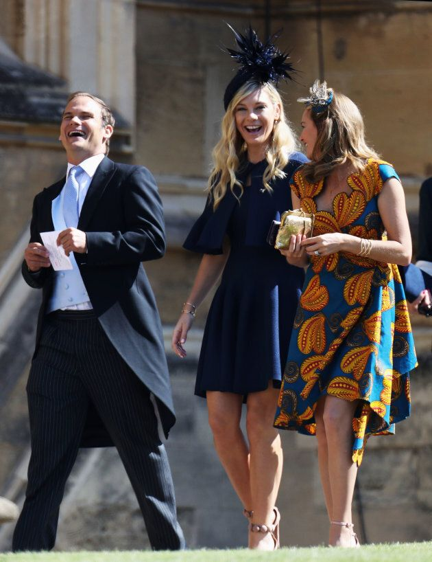 WINDSOR, ENGLAND - MAY 19: Chelsy Davy (C) arrives at the wedding of Prince Harry to Ms Meghan Markle...