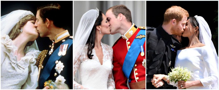 A combination of pictures created in London on May 19, 2018 shows Britain's Prince Charles kissing his...