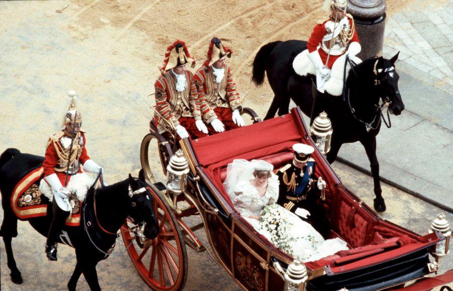 LONDON, UK - JULY 29, 1981: Royal Wedding. Photo of Diana Princess of Wales and Prince Charles taken...