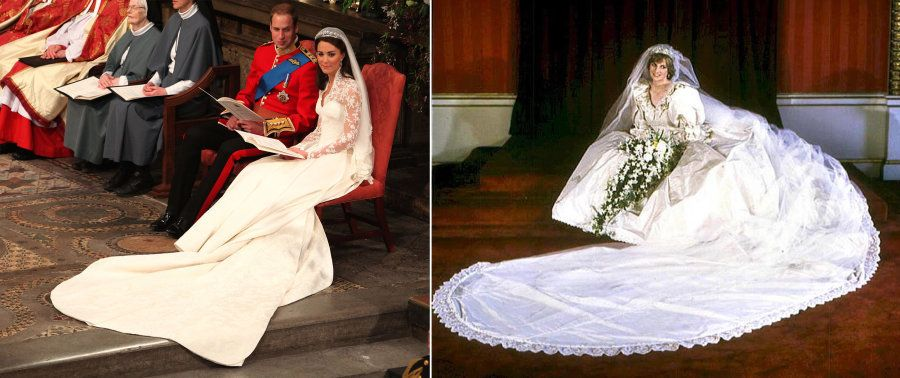 A combo picture show Princess Diana (R) posing in her wedding dress on 29 July 1981 and Kate, Duchess...