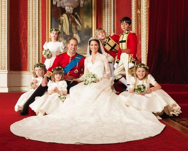 Britain's Prince William and his bride Catherine, Duchess of Cambridge, are seen posing for an official...