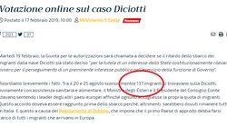 L'errore nel quesito per il voto su Salvini, i migranti della Diciotti diventano