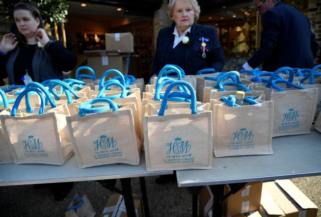 Bags with the wedding monogram of Britain's Prince Harry and Meghan Markle are seen ahead of their wedding...