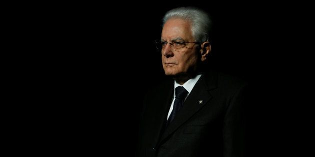 Italian President Sergio Mattarella visits the tomb of Portuguese poet Luis de Camoes during the official...