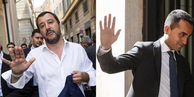 Matteo Salvini (S) e Luigi Di Maio in due foto combinate