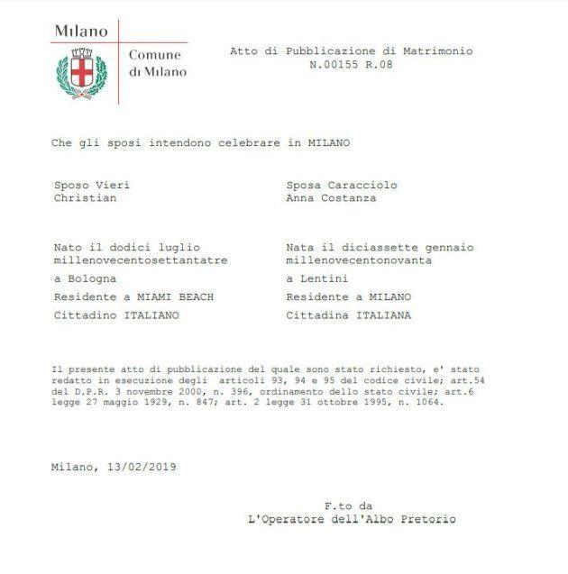 Bobo Vieri e Costanza Caracciolo si sposano. La conferma dal Comune di
