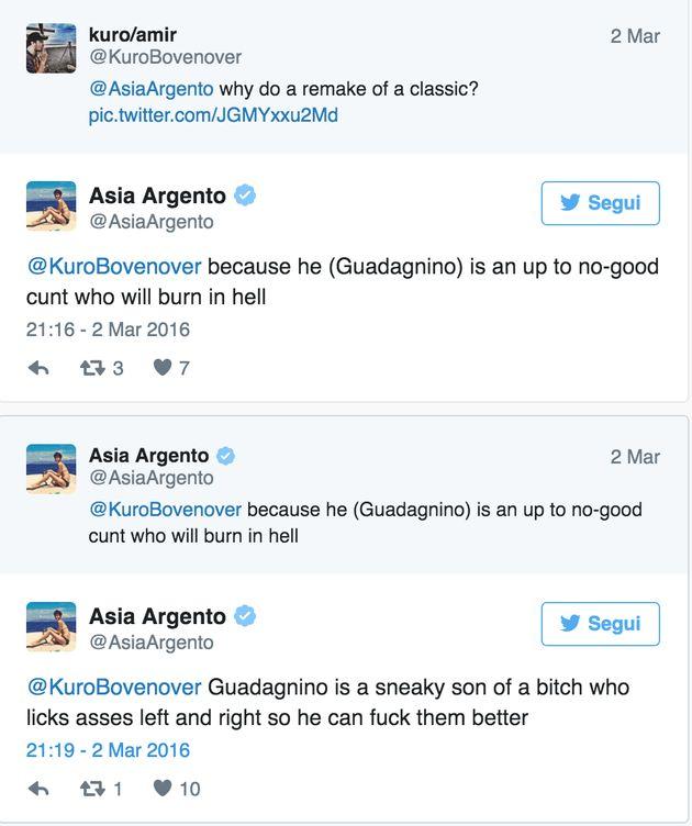 Asia Argento querelata da Luca Guadagnino. Non aveva apprezzato il remake di Suspiria e lo aveva insultato...