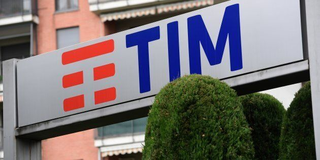 This picture taken on May 4, 2018 shows the logo of the Italian Telecommunications Company (TIM), on...
