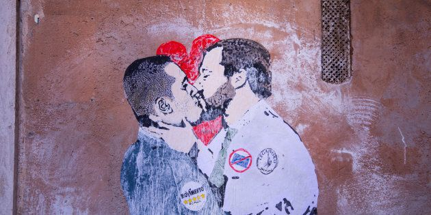 PIAZZA CAPRANICA, ROMA, RM, ITALY - 2018/03/23: Murals with Luigi Di Maio and Matteo Salvini kissing...