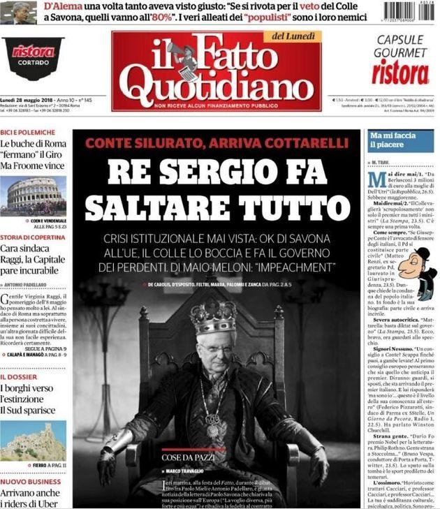 I quotidiani italiani difendono il Quirinale, Il Fatto contro