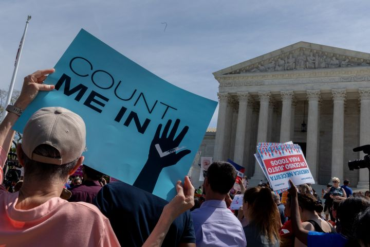 As the Supreme Court justices heard oral arguments over the 2020 census citizenship question, protesters gathered outside dem