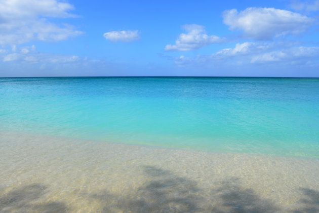 Looking out at the Caribbean Sea from 7 Mile Beach on Grand Cayman