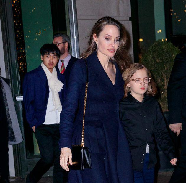 NEW YORK, NY - FEBRUARY 25: Angelina Jolie and Vivienne Pitt-Jolie on February 25, 2019 in New York City....