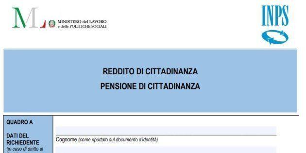 Il modulo per richiedere il reddito di cittadinanza. Da oggi è disponibile sul sito