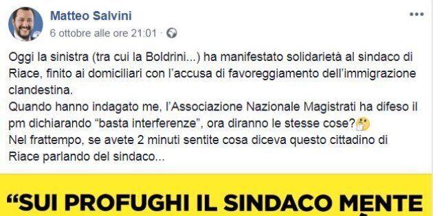 Salvini tradito dalla 'bestia': posta un video di un cittadino di Riace scontento di Lucano, ma è un...