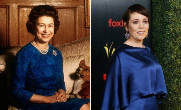 Esquerda: A rainha Elizabeth 2ª em 1970. Direita: Olivia Colman no prêmio AACTA International...