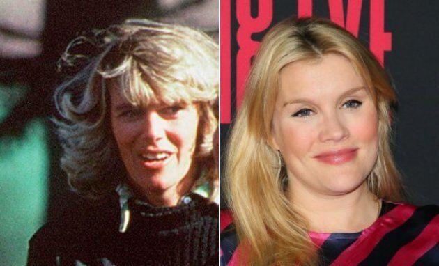 Esquerda: Camilla Parker-Bowles em 1979. Direita: Emerald Fennell na estreia de Killing Eve, em abril...