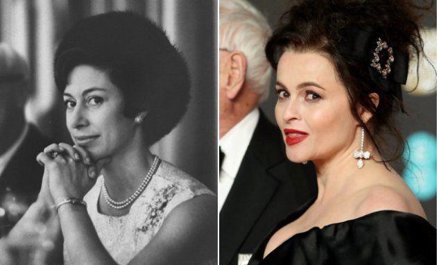 Esquerda: A princesa Margaret num desfile de moda, em 1965. Direita: Helena Bonham Carter na premiação...