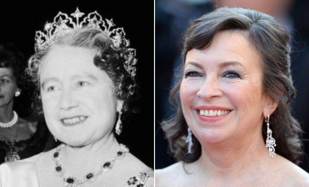 Esquerda: A Rainha Mãe no teatro, em 1964, em Londres. Direita: Marion Bailey na estreia de Mr....
