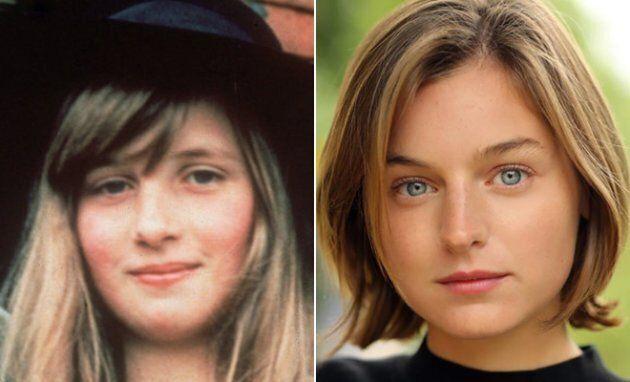 Esquerda: A jovem princesa Diana. Direita: Emma