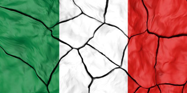 Italy Flag On Cracked