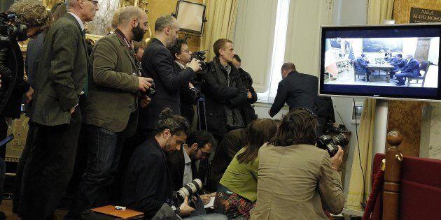 La sala Aldo Moro durante la direttastreamingdella consultazioni del Presidente del Consiglio incaricato...