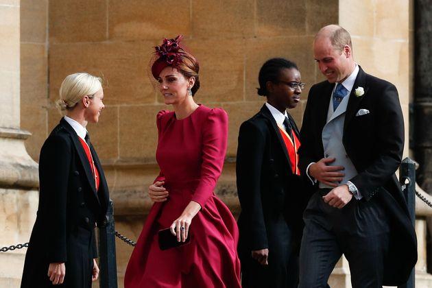 Britain's Catherine, Duchess of Cambridge, (L) and Britain's Prince William, Duke of Cambridge, (R) arrive...
