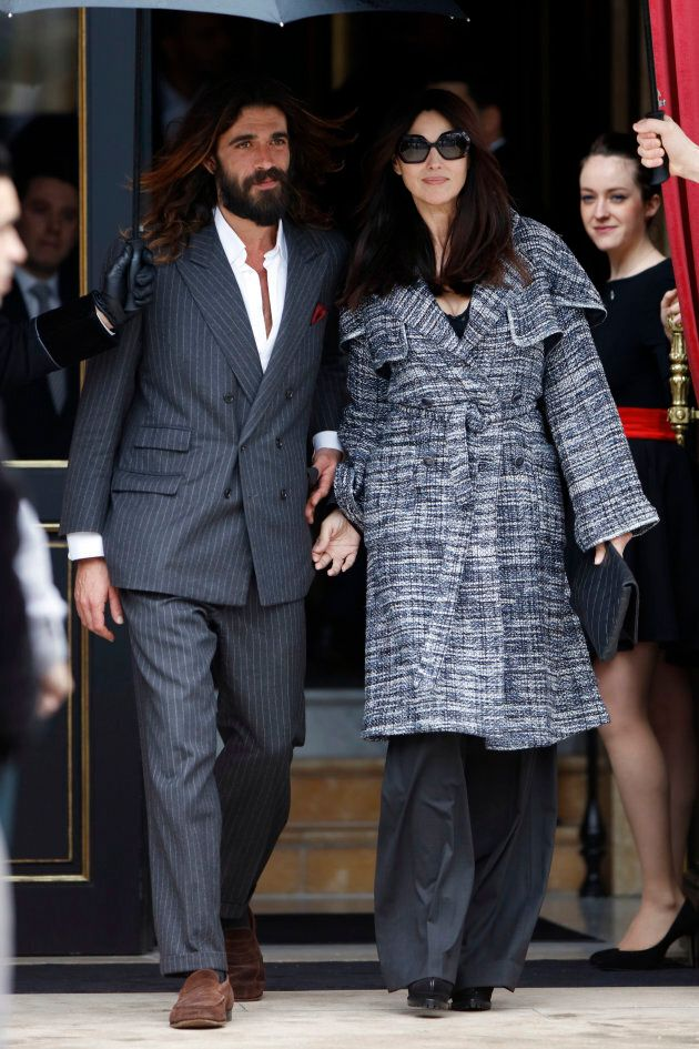 Monica Bellucci and Nicolas Lefevre seen in Paris, France on March 5, 2019.(Photo by Mehdi Taamallah/NurPhoto...