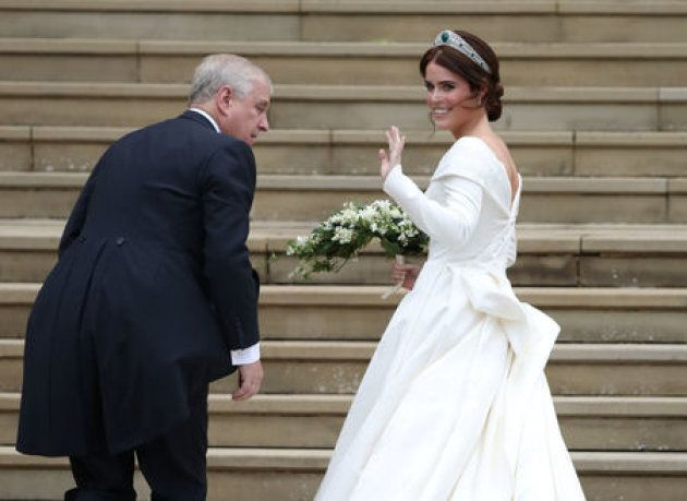 Princess Eugenie arrives with her father, the Duke of York, for her wedding to Jack Brooksbank at St...